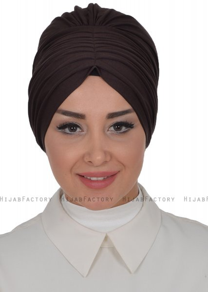 Wilma - Turbante Di Cotone Marrone - Ayse Turban