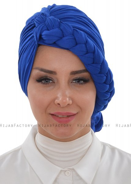 Theresa - Turbante Di Cotone Blu - Ayse Turban