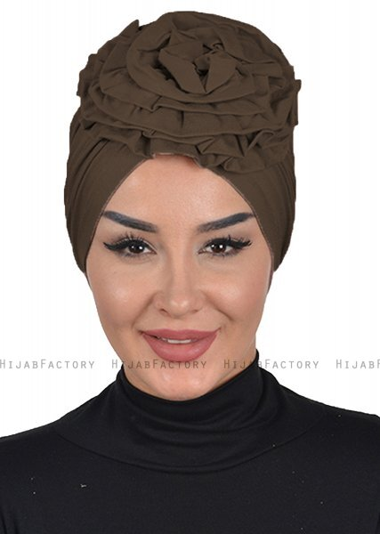Kerstin - Turbante Di Cotone Marrone - Ayse Turban