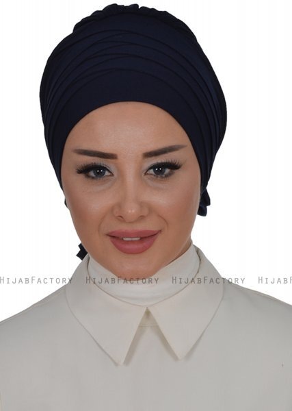Monica - Turbante Di Cotone Blu Navy - Ayse Turban