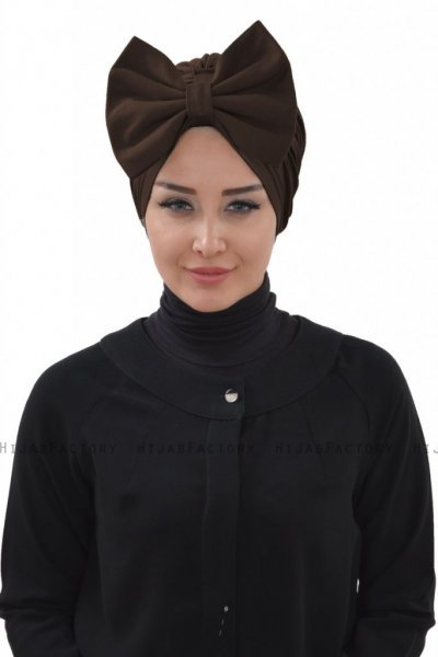 Julia - Turbante Di Cotone Marrone - Ayse Turban
