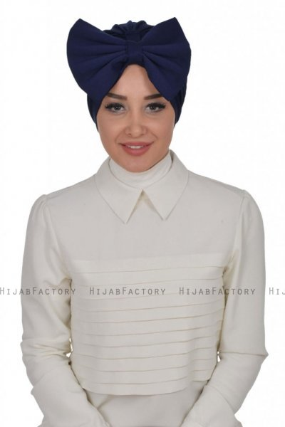 Julia - Turbante Di Cotone Blu Navy - Ayse Turban