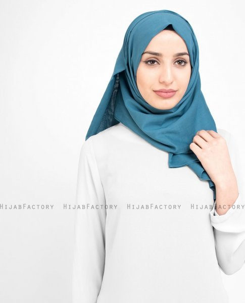 Teal Real - Denim Bomull Voile Hijab Sjal InEssence Ayisah 5TA56a