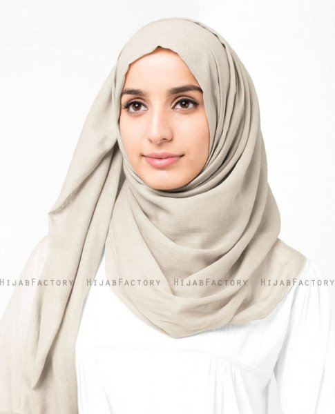 Turtledove Beige Bomull Voile Hijab 5TA86d